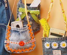 Perfect Pocket Purses - use two denim pockets, sew or hot glue together, put cute handle and embellish with ribbon, buttons and flowers. cute!