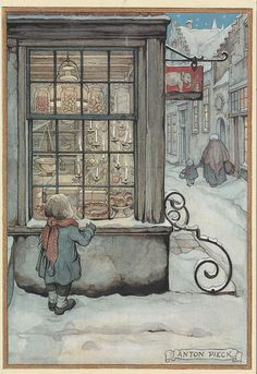 Trademark Fine Art 'Child At The Bakery' Canvas Art by Anton Pieck, Size: 35 x 47 Illustrator, Anton Pieck, Different Art Styles, Dutch Painters, Dutch Artists, Christmas Art, Art Reproductions, Find Art, Art For Kids