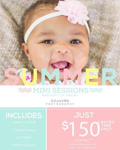 Its time for  flip flops bonfires & smores  fun in the sun snow cones & popsicles lazy days and late summer nights  Summer is finally here and I don't want you to miss out on an opportunity to capture some amazing moments with a summer mini session. Currently booking now with LIMITED SPACE available. Session will take place on Saturday June 18th from 10am-2pm. Reserve your spot today by emailing hello@uslovewe.com!