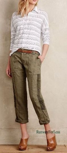 New Nwt ANTHROPOLOGIE HEI Womens Misses 31 P GREEN Embroidered Linen Crops Pants #Anthropologie #CasualPants