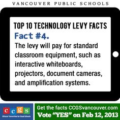 Vancouver Public Schools Technology Levy Fact #4. The levy will pay for standard classroom equipment, such as interactive whiteboards, projectors, document cameras, and amplification systems. http://ccgsvancouver.com