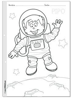 Anasınıfı Astronot Boyama Sayfası 6 Boyama Preschool