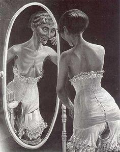 OTTO DIX, At the mirror 1921: Cuadro realista cuya desproporción expresiva ( reflejo del espejo) converge al Dadaísmo y repercusión emocional sobre los nacionalistas de la primera guerra mundial siendo tambien una burla connotativa a la belleza y acuarelas de ambiente portuario, de prostitutas y circense.