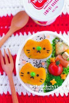 かぼちゃ餅の猫ちゃんのキャラ弁