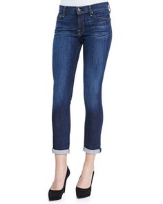7 For All Mankind Skinny Cropped & Rolled Jeans, Powdered Blue - Bergdorf Goodman
