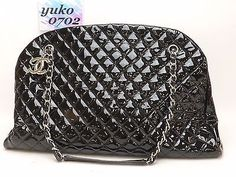 r55238 Auth CHANEL Black Patent Leather Push Lock Chain Shoulder Bag Silver HW
