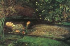 John Everett Millais was born in Southampton in 1829. He founded the Pre-Raphaelite art movement and during his lifetime painted more than thirty major works of art. In this picture his subject is 'Ophelia' from William Shakespeare's 'Hamlet' who driven out of her mind by Hamlet's neglect and the murder of her father drowns in a stream