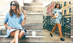 Patricia Manfield is looking gorgeous in our all denim outfit. You can find the skirt and top at Styligion.com ! #denim #patriciamanfield #skirt #cropped