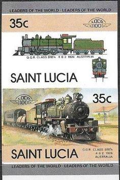 Stamp: QGR Class B181/4, 1926, Australia (Saint Lucia) (Locomotives) Mi:LC 716B-717B