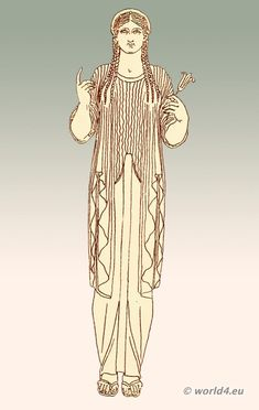 Greek Female with Ionic chiton - The Ionic chiton, on the contrary, was a long and loose garment, reaching to the feet, with wide sleeves, and was usually made of linen. The sleeves, however, appear generally to have covered only the upper part of the arm; for in ancient works of art we seldom find the sleeve extending farther than the elbow, and sometimes not so far.