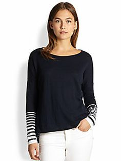 Vince - Striped-Cuff Slub Sweater