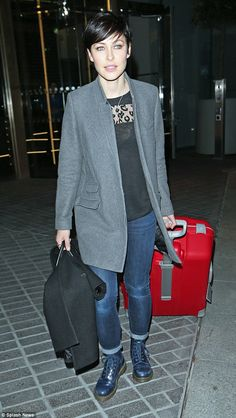 Casual look: Emma Willis was dressed down as she left London's Mondrian hotel on Monday evening after a long day of back-to-back interviews for the fourth series of The Voice