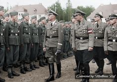 Heinrich Himmler and Artur Axmann inspecting New SS Training Recruits , June 1, 1943
