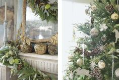 Pine cone clusters in the tree, naturals mixed with gold, evergreen, and lime