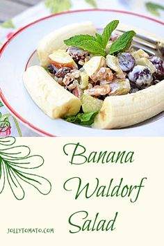 Banana Waldorf Salad - And All About Bananas - Jolly Tomato Unique Recipes, Amazing Recipes, Popular Recipes, Real Food Recipes, Fun Food, Love Food, Yummy Food, Waldorf Salad, Banana Fruit