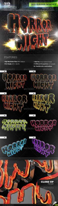 3D Rendered Horror Night Text with 2 textures: metallic and fire/lava material. Great for party, festivals, concerts posters, fl