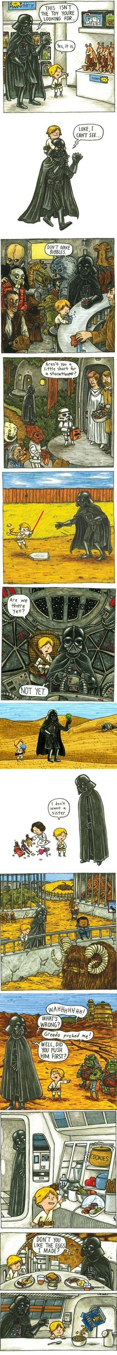 Artist Jeffrey Brown shows us 12 things that Darth Vader would do if he was actually a good father.
