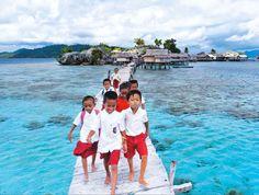 School commute in the Togean Islands. Islands, November 2013