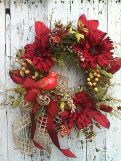 Red Autumn Flower Wreath with Bird - Fall Wreath for Door