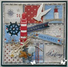 card nautical Marianne design die set - maja design Life by the sea paper pad Nautical Cards, Nautical Theme, Scrapbooking Layouts, Scrapbook Cards, Marianne Design Cards, Card Creator, Beach Cards, Up Book, Sea Theme