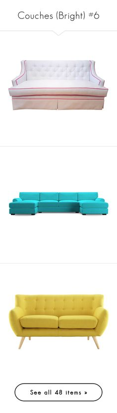 """Couches (Bright) #6"" by missblue1 ❤ liked on Polyvore featuring home, furniture, sofas, white tufted couch, white furniture, pipe sofa, handmade sofa, plush couch, blue and sectional sofas"
