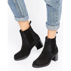 ASOS RHODA Suede Chelsea Boots (5,540 INR) ❤ liked on Polyvore featuring shoes, boots, ankle booties, black, black booties, black ankle booties, black suede boots, high heel booties and chelsea boots