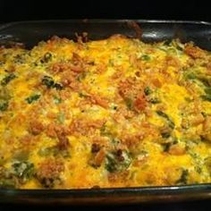 Awesome Broccoli-Cheese Casserole...I cook my broccoli until warmed through with fresh cracked pepper and a little onion powder; use two beaten eggs; add 2 tbsp melted spread or margarine, and sprinkle Pepperidge Farm cornbread stuffing on the top with 1/8 to 1/4 shredded cheese after 40 mins, baking for another 10 - 15 or broil for 8 - 10 mins.
