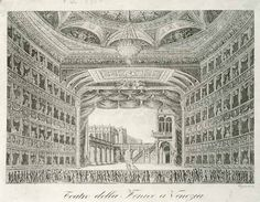 Print . Interior of Teatro La Fenice in Venice. Engraving, 18th century.