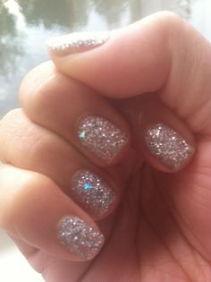 Silver glitter nails. #Nails #Beauty #Gifts #Nailart #Manicure Visit Beauty.com for more.