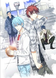 Kuroko no Basket - Aomine, Himuro, Kuroko, Kagami (I wish we got to see everyone in street clothes more often). #anime #manga