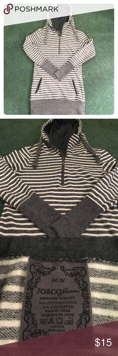 Adorable hoodie Gray and white striped hoodie with pockets. Runs small, too small for me! Great condition! Tops Sweatshirts & Hoodies