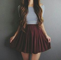Striped off the shoulder top with a burgundy skirt