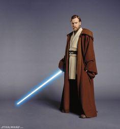 "Ewan McGregor as Obi-Wan Kenobi in ""Star Wars: Attack of the Clones"" (Lucasfilm) Traje Jedi, Costume Jedi, Costume Star Wars, Obi Wan, Jedi Cloak, Jedi Robe, Alex Rider, Ewan Mcgregor, Lightsaber"