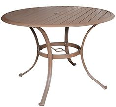 Panama Jack Outdoor Island Breeze Slatted Aluminum Round Dining Table in Espresso Finish with Umbrella Hole 42Inch * This is an Amazon Associate's Pin. Detailed information can be found on Amazon website by clicking  the VISIT button.