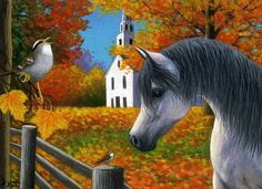 Arabian horse sparrow bird church fall autumn limited edition aceo print art #Realism