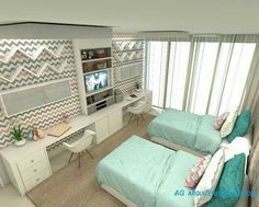 Parker and Brooklyn's teen room Twin Girl Bedrooms, Shared Bedrooms, Girls Bedroom, Twin Bedroom Ideas, Small Room Bedroom, Home Bedroom, Bedroom Decor, Jugendschlafzimmer Designs, Teen Bedroom Designs