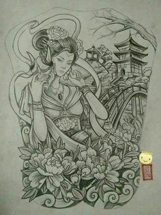 tattoos in japanese prints Japanese Geisha Tattoo, Japanese Drawings, Japanese Artwork, Japanese Tattoo Designs, Japanese Sleeve Tattoos, Japanese Prints, Japanese Temple Tattoo, Samurai Drawing, Samurai Tattoo