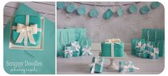 Tiffany & Co. themed Cake Smash.  Cake made by Melva's Cakes in Del Rio, Texas.  Set design and photography by Scrappy Doodles Photography & Design. Tiffany Inspired 1st birthday