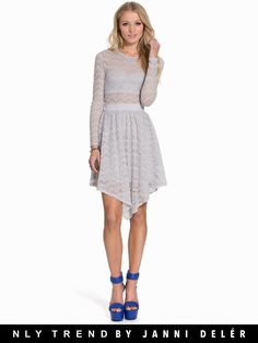 Nelly.com: Glam Hankerchief Lace Dress - NLY Trend - women - Grey. New clothes, make - up and accessories every day. Over 800 brands. Unlimited variety.
