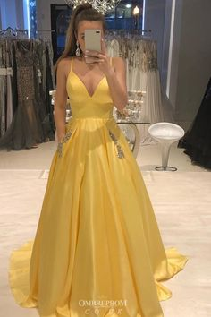 V-neck Yellow Satin Prom Dress with Beaded Pockets Buy Spaghetti-straps V-neck Yellow Satin Prom Dress with Beaded Pockets – .ukBuy Spaghetti-straps V-neck Yellow Satin Prom Dress with Beaded Pockets – . Prom Dresses With Pockets, V Neck Prom Dresses, Unique Prom Dresses, Grad Dresses, Ball Dresses, Strapless Dress Formal, Beautiful Dresses, Long Dresses, Dress Prom