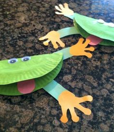 Ribbit! Add webbed feet to these springy-green cuties. #kidcrafts