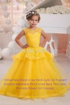 Yellow New Sheer Crew Neck Cute Girl Pageant Dresses Sleeveless Pink Corset Back Tiers Skirt Princess Flower Girl Dresses Pink Corset, Princess Flower Girl Dresses, Usa Baby, Girls Pageant Dresses, Winter Dresses, Lehenga, Pink Dress, Cute Girls, Crew Neck