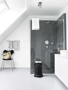 Contrasting black mosaic on the white bathroom walls. Bo Bedre Magazine: House located in Snekkersten, Denmark Loft Bathroom, Bathroom Toilets, Laundry In Bathroom, White Bathroom, Modern Bathroom, Basement Bathroom, Bad Inspiration, Bathroom Inspiration, Bathroom Interior Design