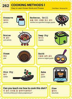 262 Learn Korean: Cooking Methods I Learn Basic Korean, How To Speak Korean, Korean Words Learning, Korean Language Learning, Korean English, Korean Kitchen, Learn Hangul, Korean Phrases, Korean Slang