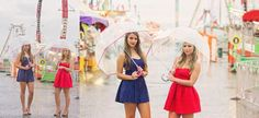 Kathy Beaver Photography| retro dressed girls at state fair in the rain, Asheville NC| High School Senior Photographer