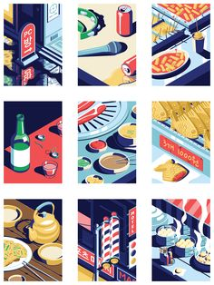 A small series of posters of scenes from a typical night out in Seoul - Coen Pohl Art And Illustration, Illustrations And Posters, Graphic Design Illustration, Korean Illustration, Marker Kunst, Posca Marker, Marker Art, Pen Art, Graphic Design Posters