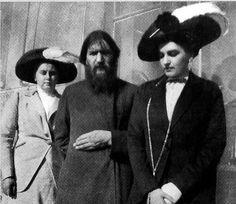 Empress Alexandra's friends: Anna Vyrobova, Grigorii Yefimovich Rasputin and Lili Dehn.
