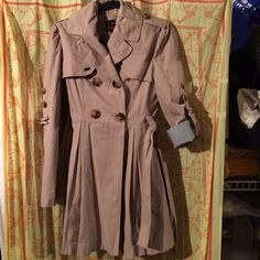 Trench coat Worn a couple times, only to church. In great condition! Goes great with anything! Comes with belt, sleeves roll up. Size 2-4 Jackets & Coats Trench Coats
