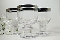 Silver (possibly Platinum) rimmed low ball glasses (set of 3) by Thomas…