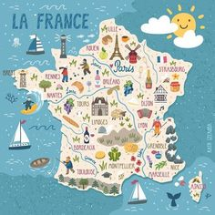 Travel and Trip infographic Travel infographic - Vector stylized map of France. Travel illustration with french landmarks, people. Map France, France Travel, Travel Maps, Travel Posters, Food Travel, Road Trip Planer, Road Trip France, Country Maps, Brest